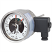 Bimetal thermometer with switch contacts